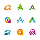 Set of letter A logo icons
