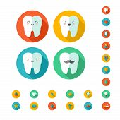 Teeth with dental icons. Vector illustration.