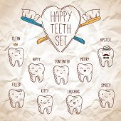 Happy teeth set. Dental collection for your design.