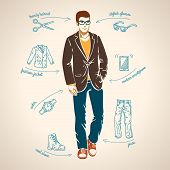 Handsome young man. Vector illustration.