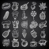 25 sketch doodle icons food on black background