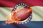 American Football Ball With Flag On Backround Series - Missouri