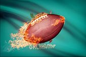 American Football Ball With Flag On Backround Series - Oklahoma