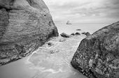 Tranquil view of a coastline landscape in black and white