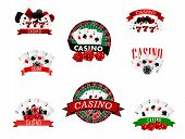 foto of dice  - Casino and gambling badges or emblems each with word  Casino decorated with a hand of aces playing cards - JPG