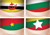 Flags illustration, Brunei, Bulgaria, Burkina Faso, Burma