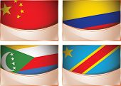 Flags illustration, China, Colombia, Comoros, Democratic Rep