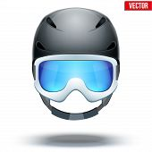 Front view of Classic blue Ski helmet and orange snowboard goggles. Vector isolated on white backgro