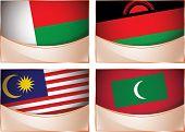 Flags illustration, Madagascar, Malawi, Malaysia, Maldives