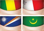 Flags illustration, Mali, Malta, Marshall Islands, Mauritani