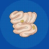 stock photo of small-intestine  - Hand drawn human small intestine with food inside - JPG