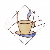 Stained Glass Hand-made Coffee Cup Decor Isolated On White