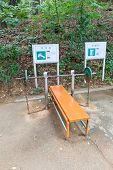 Bench And Barbell In Jaseongdae Park Of Busan, Korea
