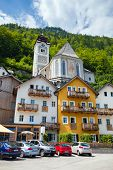 Village Square With Typical Colorful Houses In Hallstatt