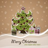 New Year Card With Christmas Tree And Gifts In The Middle