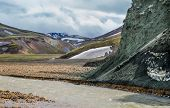 Landmannalaugar unbelievable landscape with tourists, river and green mountain
