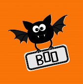Cute Bat With Plate Boo. Happy Halloween Card. Flat Design.