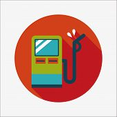 Fuel Flat Icon With Long Shadow