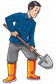 Gardener with a shovel