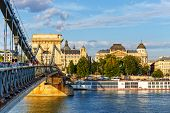Chain bridge is a suspension bridge that spans the River Danube between Buda and Pest