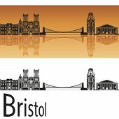 Bristol Skyline In Orange Background