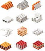 Vector building products icons. Part 1. Concrete elements