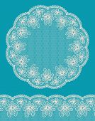Round Lacy Frame On Blue Background With Lacy Bottom Border.