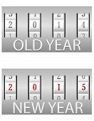 pic of combination lock  - combination lock old and the new year vector illustration isolated on white background - JPG