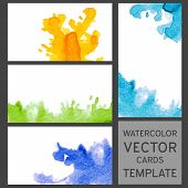 Set Of Grunge Watercolor Visit Cards Templates