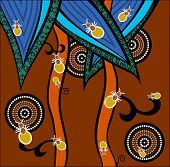 A Illustration Based On Aboriginal Style Of Dot Painting Depicting Ants