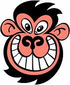 Ugly monkey grinning maliciously
