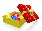 Painted Easter Eggs In Gift Box With Gold Bow Ribbon