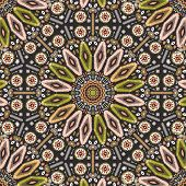 Ornamental round geometric native style pattern. Orient ornament on dark colors