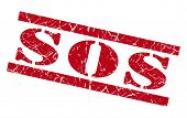 Sos Red Grunge Stamp Isolated On White