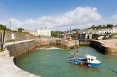 Charlestown harbour near St Austell Cornwall England UK in late summer with blue sky and sea