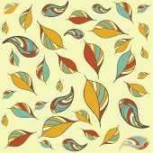 Seamless pattern with art autumn leaves