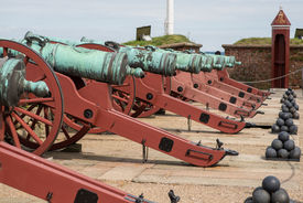 picture of cannon-ball  - Cannons and balls at Elsinore Castle Denmark - JPG