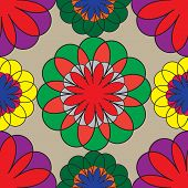 Mosaic Seamless Floral Pattern.vector Pattern