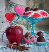 chocolate candy with apples