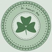 Green Stamp With Clover And The Text Happy St. Patrick's Day, Vector Illustration.