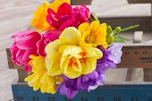 stock photo of bosoms  - fresh posy of pink tulips yellow daffodils and freesea flowers on wooden table - JPG