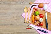 Food Ingredient On Wooden Background