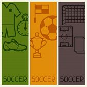 Sports banners with soccer football symbols.