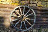 Old Dilapidated Wheel Near The Village Katselovo
