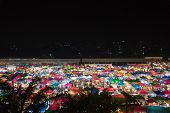 picture of tent  - photo of night market high view from building colorful tent retail shop and lighting - JPG