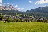 View Of ?ortina D'ampezzo In Dolomiti Mountain