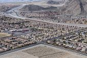 Las Vegas suburban housing sprawl adjoining the Spring Mountains in Southern Nevada.