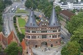 Aerial view to the Holstentor city gate in Lubeck, Germany.