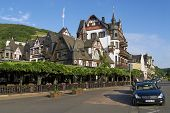 Exterior of the traditional buildings in Rudesheim am Rhein, Germany.