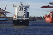 Hamburg - Container Vessel Arrives At The Port Waltershof